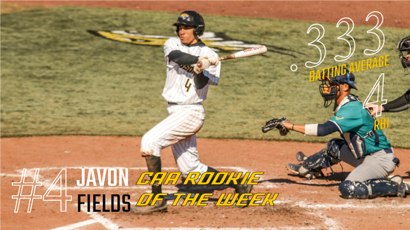 Fields Honored as CAA Baseball Rookie of the Week - Towson University Athletics